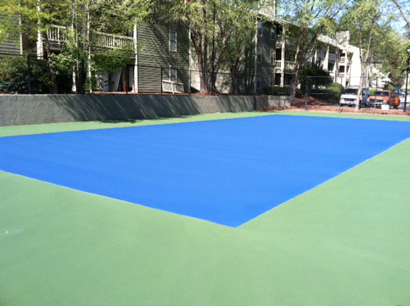 Before striping the tennis court