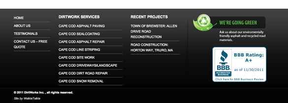 Dirtworks Website Footer
