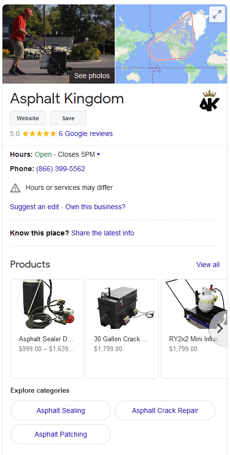 Google My Business in search results